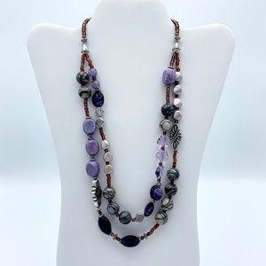 NWT Purple Faux Stone Silver Tone Boho Necklace